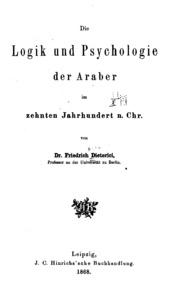 Die Logik und Psychologie der Araber im zehnten Jarhhundert n. Chr.