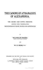 The Canons of Athanasius of Alexandria : the Arabic and Coptic versions