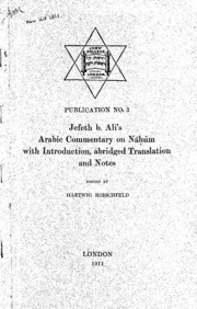 Arabic commentary on Nahum with introduction, abridged translation and notes [microform]