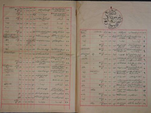 فهرس كتاب التاريخ الموجود في كتبخانة شيخ الاسلام في المدينة المنورة