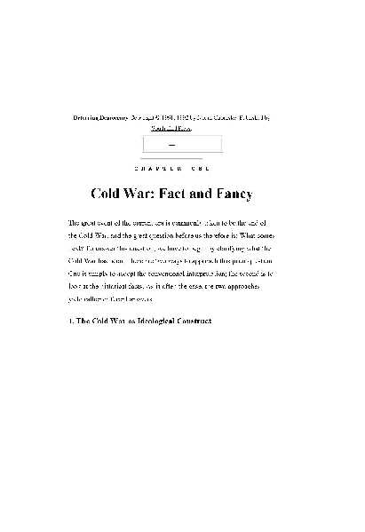 Cold War:Fact and Fancy
