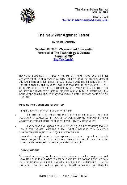 The New War Against Terror
